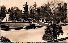 1950s RPPC Real Photo Postcard Madrid Spain Retito Park Old Cars Statue View