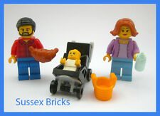 Lego City - Family Mum Dad + Baby in Pushchair Buggy  60134 - Brand New Pieces