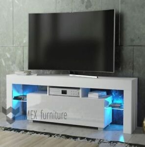 High Gloss White Tv Stand Unit Cabinet With Led Light Shelves 2