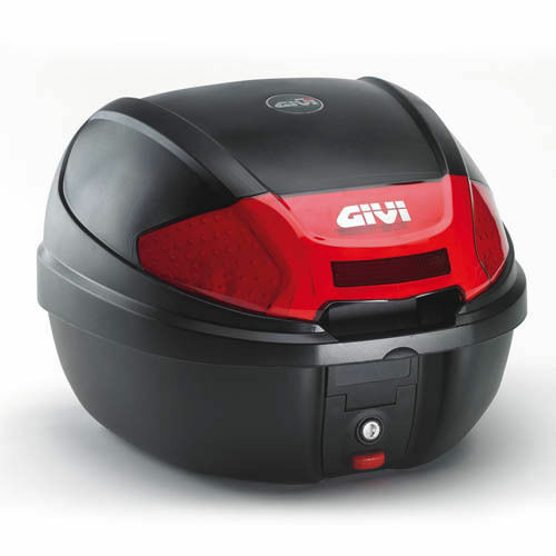 Suitcase Bauletto Monolock Givi E300 30LT Black Embossed Reflectors Red