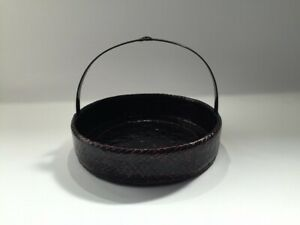 Japanese-Bamboo-Basket-Takekago-Vtg-Lacquer-Ware-Handle-Brown-Round-q165