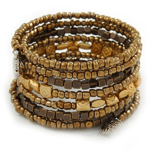 Adjustable Gold// Bronze// Brown Glass and Acrylic Bead Coiled Flex Bracelet