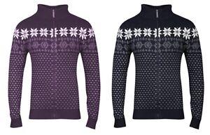 New-Men-039-s-Designer-Brave-Soul-Ricardo-Fair-Isle-Zip-Up-Aztec-Knit-Jumper-Jacket