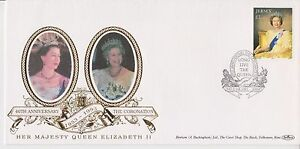 GB-JERSEY-BENHAM-SILK-FDC-FIRST-DAY-COVER-1993-QEII-CORONATION-40TH-ANNIVERSARY