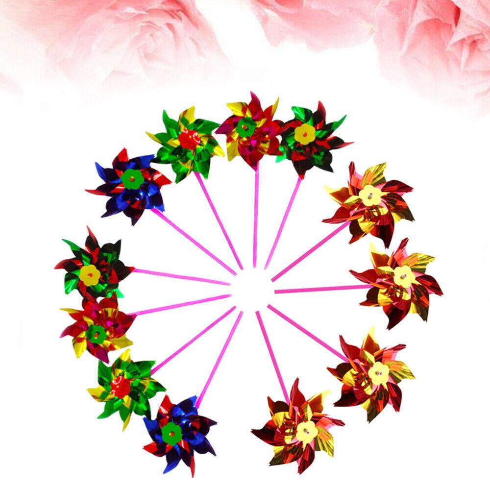 20pcs Colorful Plastic Pinwheel DIY Small Windmill Toy Set Beautiful Windmill To