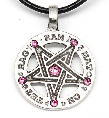 PEWTER Celtic SOLAR CROSS Druid PINK ROSE Crystal OCTOBER Oct Birthstone Pendant