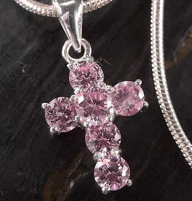 AnpassungsfäHig Neu 40cm Halskette Mit 925 Silber Kreuz 4mm Zirkonia Steine Rosa/light Rose Gut FüR Energie Und Die Milz Sonstige