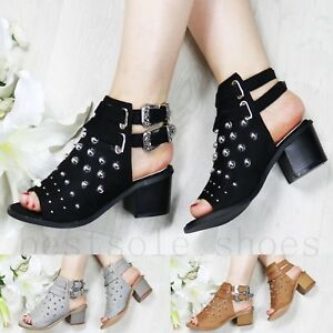 New-Womens-Mid-Block-Heel-Sandals-Studs-Peep-Toe-Buckle-Ankle-Strap-Shoes-Sizes