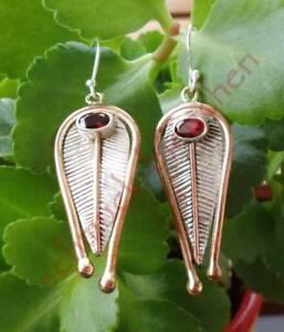 Ohrring-mit-Granat-rot-Stein-des-Januar-Sterling-Silber-925-zweifarbig