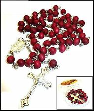 Rose scented holy land fancy blessed olive wood Rosary beads from Jerusalem+ box