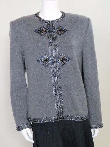 Valentino Night c. 1980s Gray Cashmere Cardigan
