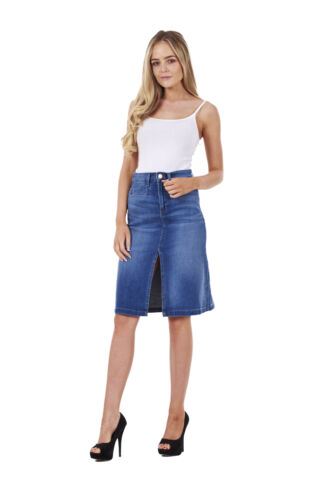 Ladies Quality Denim Skirt Blue Split Knee Length Pockets Stretch Cotton