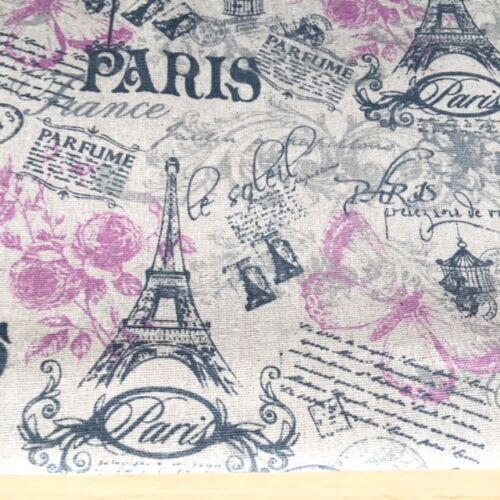 Paris Butterfly Natural LINEN Cotton Fabric Price for 1//2 metre