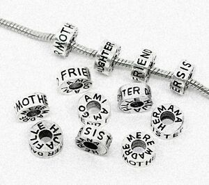 Antique-Silver-Family-or-Friend-12mm-Tube-Large-5mm-Hole-Charm-Bead-1pc-CHOICE