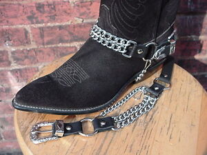 WESTERN-BOOTS-BOOT-CHAINS-BLACK-TOPGRAIN-COWHIDE-LEATHER-WITH-2-STEEL-CHAINS