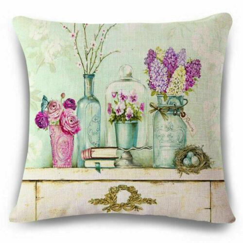 Fashion Flower Cotton Linen Pillow Case Cushion Cover Home Sofa Decor 18inch