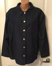 Woman's  Allison Daley Denim Button Front Blouse Jacket Top Size 18 Jean Blue Z1