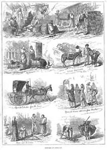 1876  Antique Print  GIBRALTAR Water Carriers Caleche Jews Milkman   156 - KENT, United Kingdom - 1876  Antique Print  GIBRALTAR Water Carriers Caleche Jews Milkman   156 - KENT, United Kingdom