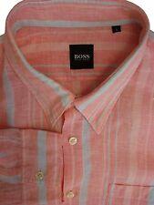 HUGO BOSS Shirt Mens 17 L Orange - Turquoise Stripes LINEN