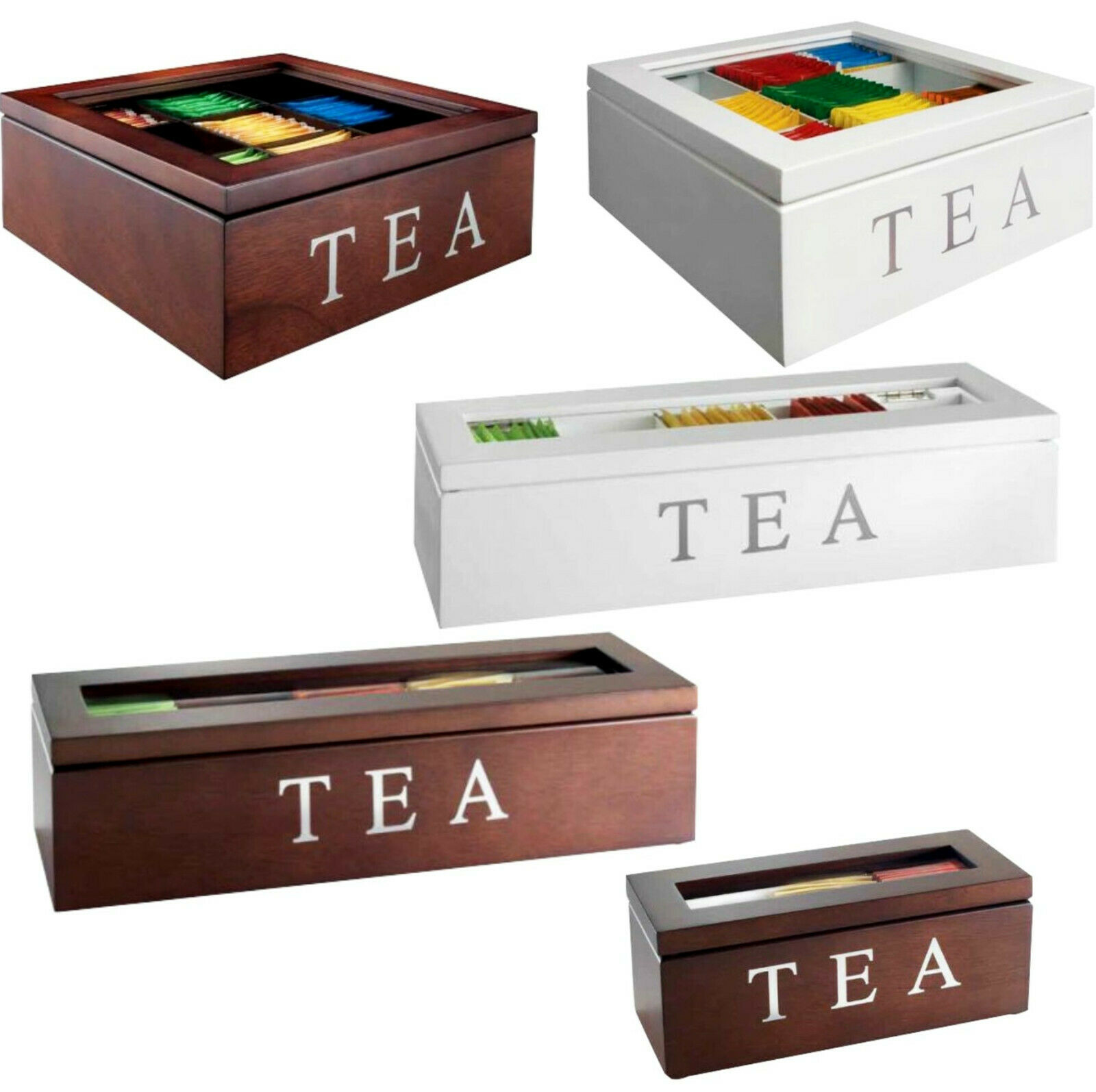 WHITE WOODEN MODERN TEA BOX CONTAINER GLASS LID 9 DIVISIONS HOLDS 90 BAGS HW201A