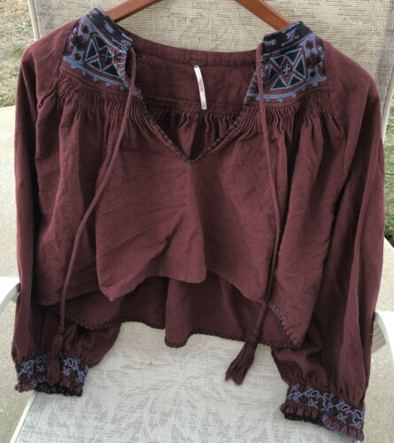Free People Bohemian Shirt Cropped Maroon Embroide