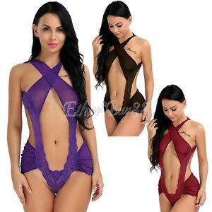 Lingerie-Sleepwear-Lace-Women-Teddy-G-string-Dress-Underwear-Babydoll-Nightwear