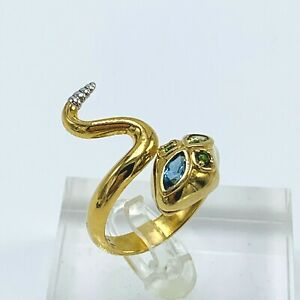Colette-Steckel-Gemstone-Snake-Sterling-Silver-Ring-size-9