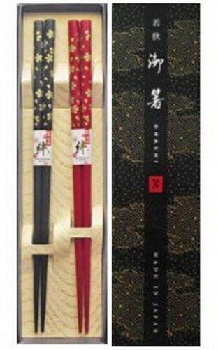 Japanese Chopsticks Hashi Wakasa-Nuri Pair Set Sakura Black /& Red F//S w//Track#