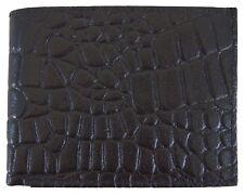 Mens Genuine Leather Bifold Alligator Skin Print Wallet Black Brand New Gift