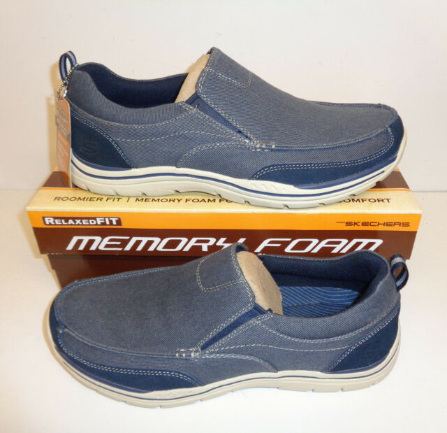 Skechers Mens Memory Foam Navy Slip On Trainers Loafers Shoes New UK Size 5.5-11