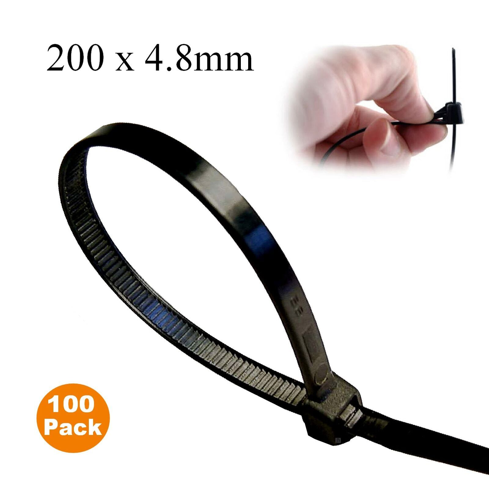 100 x Black Releasable Cable Ties 200mm x 4.8mm Reusable Wire Tidy Zip Straps
