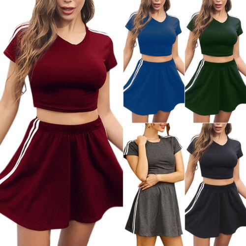 Mini Skirts Sports Tracksuit Co Ord Set UK Women Summer Short Sleeve Crop Top