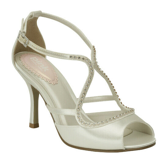 Paradox Pink PARTY 50% OFF Ivory Satin Crystal Strappy Bridal High Heel Sandals
