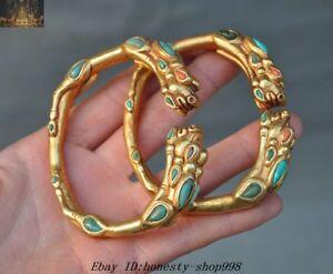 Antique Chinese Jade Gold Gilt Silver Filigree Bracelet
