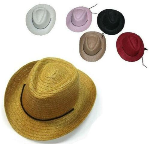 4 KIDS ASST COLOR STRAW COWBOY COWGIRL HAT child headwear childrens hats cap NEW