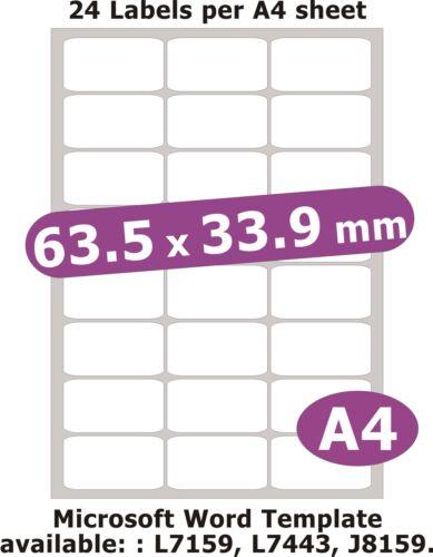 63.5x33.9mm 120 Etichette Bianco OPACO Carta 5 A4 Fogli Laser Copiatrice