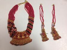 Jodha Akbar Style Jewellry Complete Set Pink : One Necklace And Two Earrings
