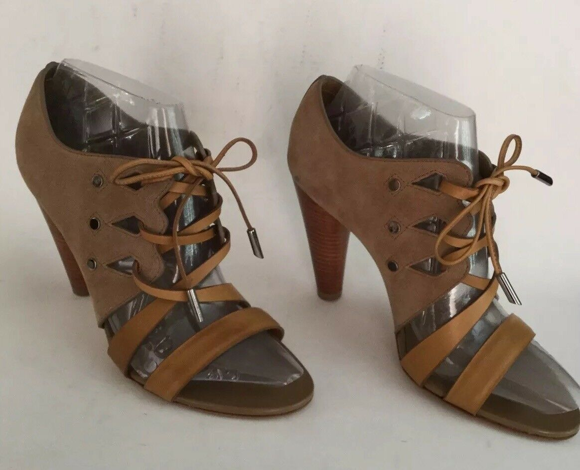 TOD'S Strappy Strappy Strappy Sandals Brown Leather Suede 4  Heels - Made In  - Size 38 90d65b