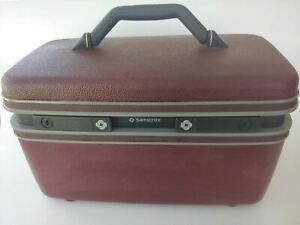 Vintage Samsonite Luggage BurgundyCosmetic Carry On Train Case  Mirror .# 3600