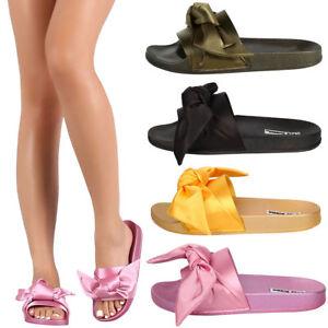 49c4f58e3223 NEW Open Toe Satin Bow Knot Slide Flat Sandal Slipper Slip On Shoe ...