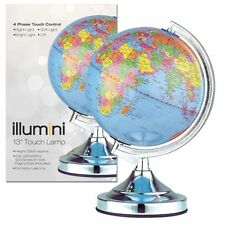 "Brand New Illumini 13"" Desk Top Table Earth World Globe Touch Lamp Light Chrome"