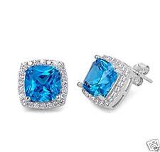 USA Seller Square Stud Earrings Sterling Silver 925 Best Jewelry Blue Topaz CZ