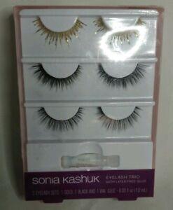 07dd0d87435 NEW Sonia Kashuk Eyelash Trio with Latex-Free Glue ~ 3 sets of false ...