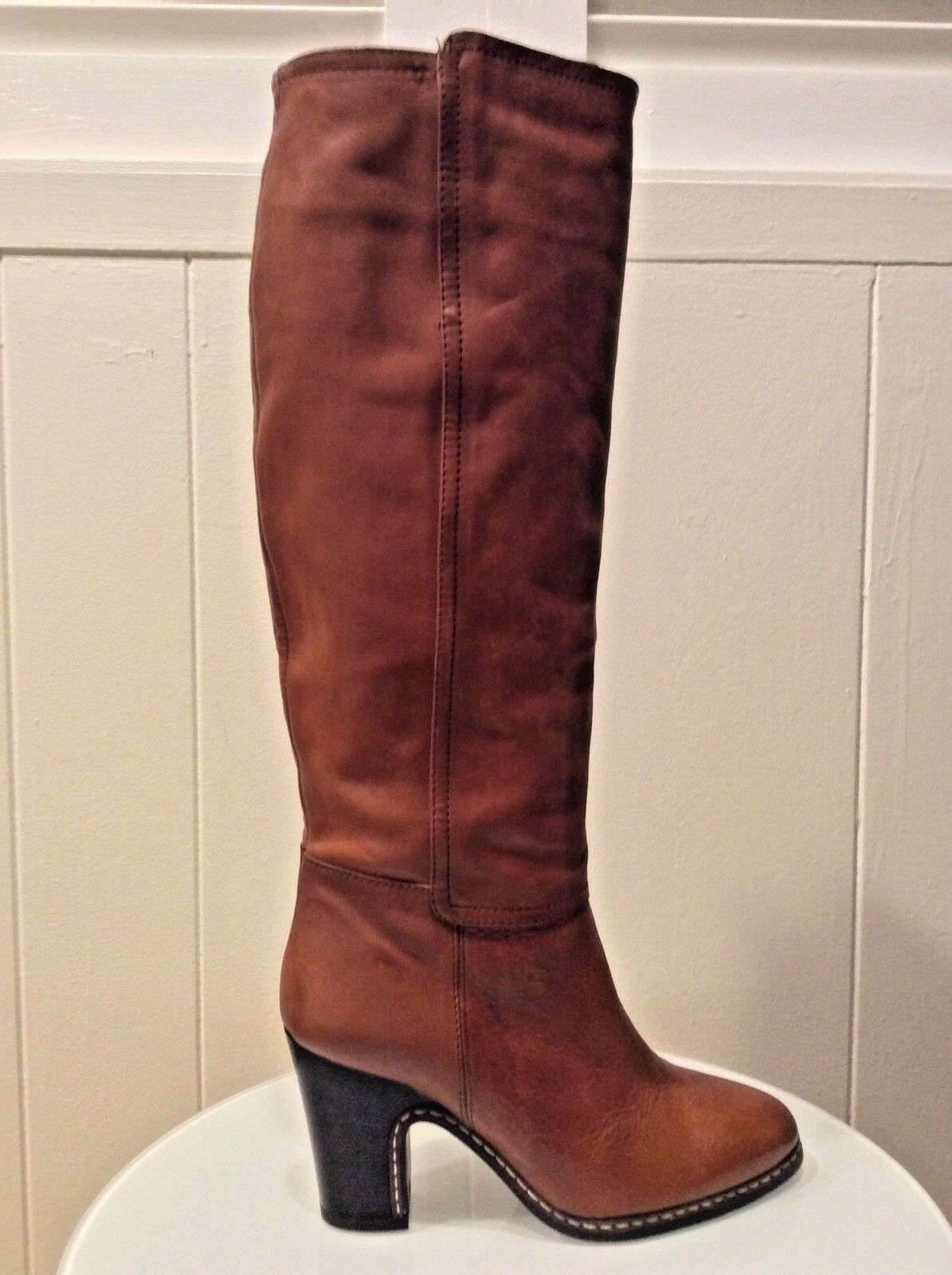 LIEBESKIND BERLIN Cognac Brown Leather Knee High Boots Size US 6 NWOB
