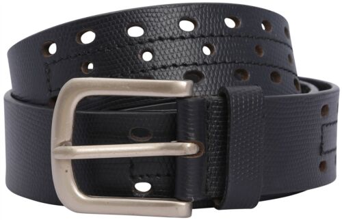 Mens Perforated Multi Hole Design Leather Pin Buckle Belts S-3XL