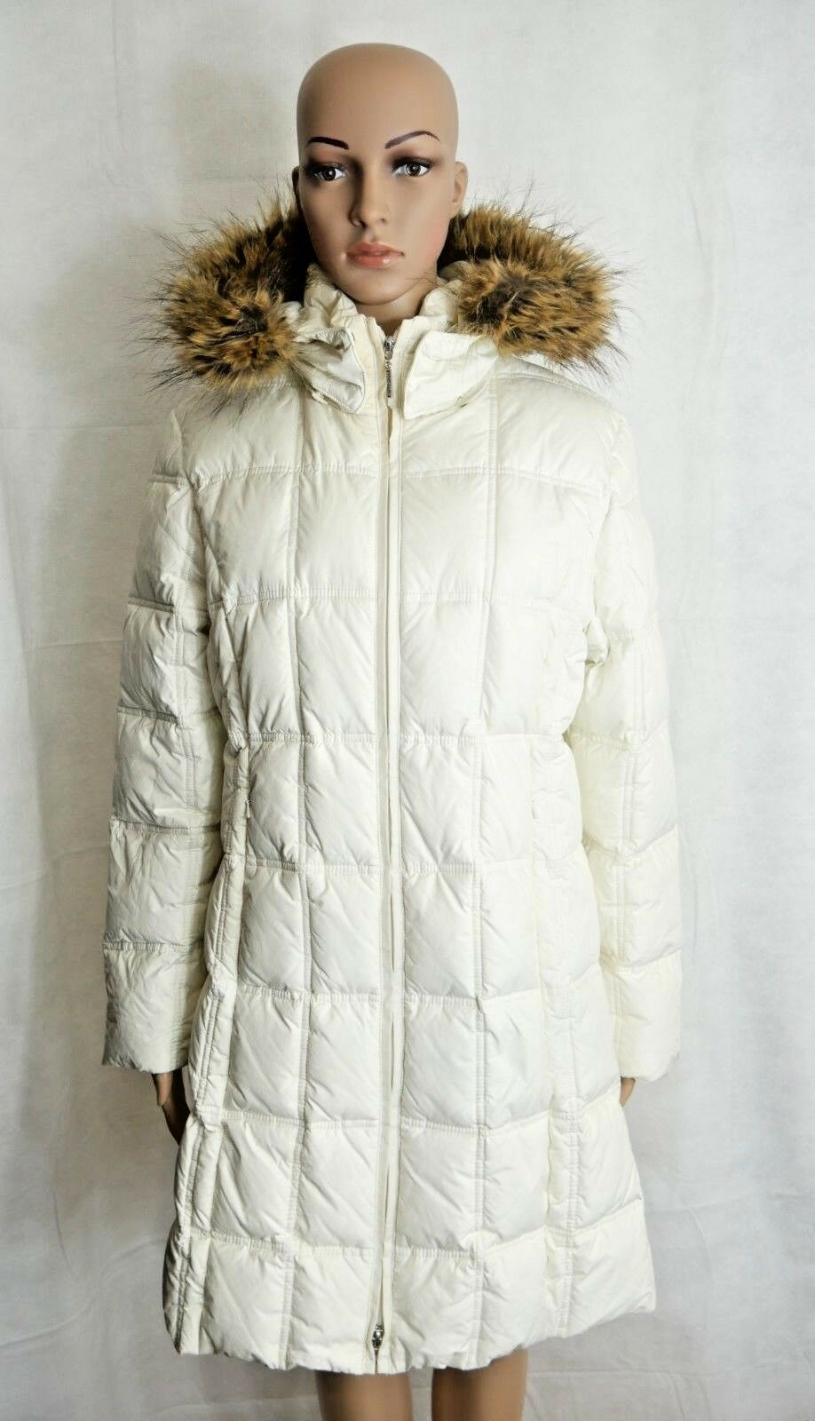 Weatherproof Garment Company Womens White Quilted Puffer Coat Hood Faux Fur Med