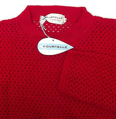 Ladies vintage 1960s knitted top COURTELLE knitwear UNWORN red lacy jumper 36