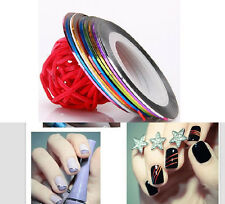 10 Color Rolls Nail Art UV Gel Tips Striping Tape Line Sticker DIY Decoration