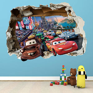 Disney cars smashed wall sticker bedroom boys girls for Disney cars mural uk