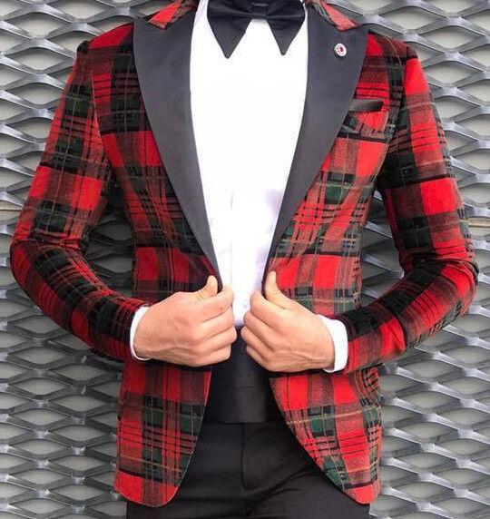 Designer Rot Schwarz Samt Smoking Hochzeitanzug Herrenanzug Tailliert Slim Fit
